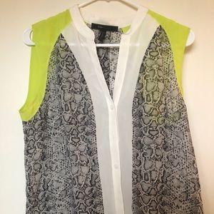 Snake skin pattern button down blouse
